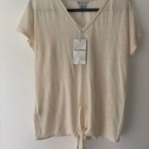 Tommy Bahama Linen Front Tie V-Neck Tee
